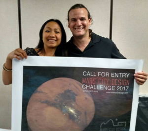 Mars City Design Founder and CEO, Vera Mulyani, with Red Planet Radio Host, Bill Hargenrader at the Mars City Design Challenge 2016 Finals.